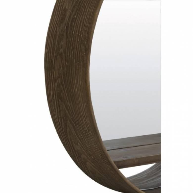 Round Dark Wood Mirror With Shelf
