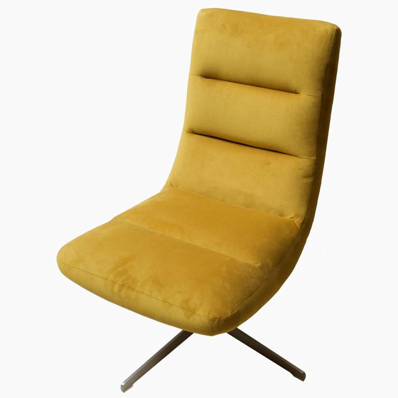 Ex-Display Josh Swivel Chair In Plush Velvet Turmeric