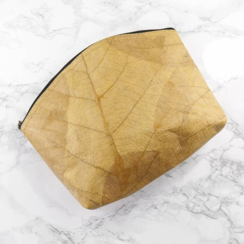Yellow Leaf Leather Large Makeup Bag