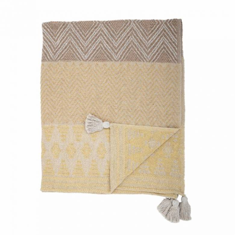 Yellow Multi-Patterned Blanket Made From Recycled Cotton