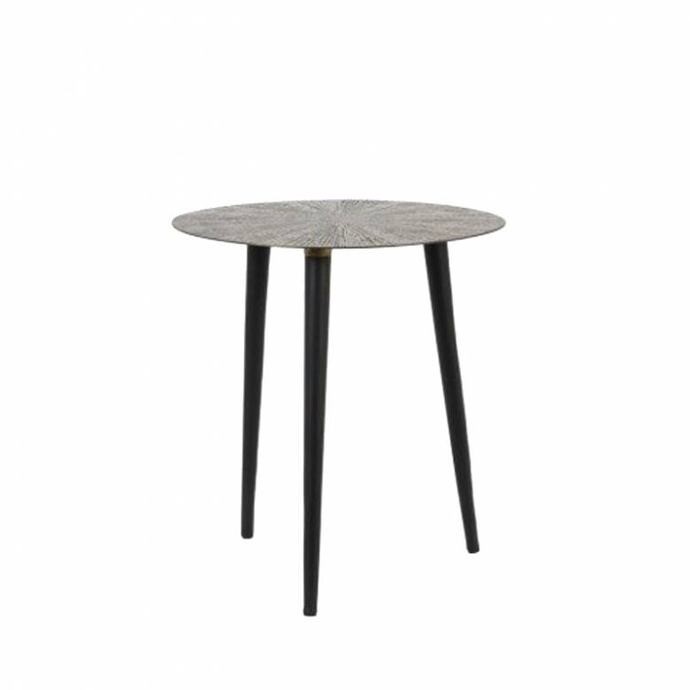 Small Ray Round Metal Side Table In Black Metal 45x47cm