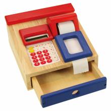 Cash Register Till Wooden With Calculator and Till Roll.