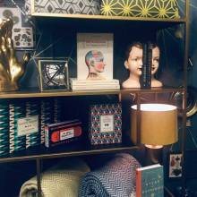 Large Gold Metal Geometric Open Shelving Unit
