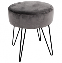 Grey Velvet Circular Stool With Black Hairpin Legs
