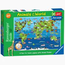Animals Of The World Giant Jigsaw Puzzle 60 Pieces 4+