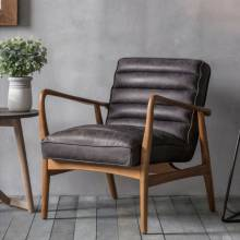 Auto Ebony Black Leather and Elm Armchair