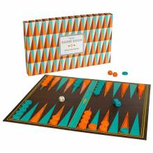 Backgammon Set In Orange And Turquoise Box