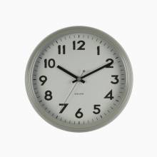 Badge Warm Grey Metal Wall Clock