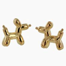 Balloon Dog Stud Earrings - Gold