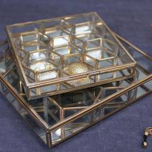 Bequai Glass And Brass Honeycomb Box