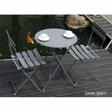 Matt Dark Grey Bistro Set Of Table & Two Chairs