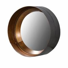 Black And Gold Metal Distressed Round  Mirror 26x10cm.