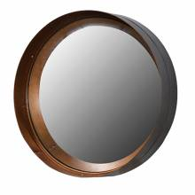 Black And Gold Metal Distressed Round Convex Mirror 31x7cm.