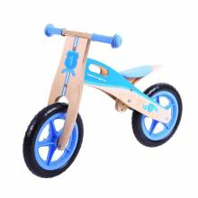 Blue Wooden Bike Without Pedals Adjustable 3-6 yrs