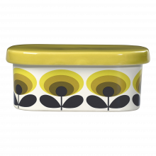 Yellow 70s Oval Flower Butter Dish By Orla Kiely