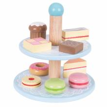 CAKE STAND Set of 10 Wooden Cakes Toy Food 3yr+