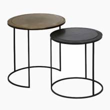 Calta Pair Of Circular Metal Side Tables