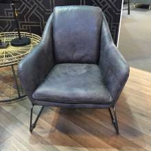 Carsdan Grey Leather Armchair With Metal Frame