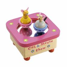 Cat and Mouse Spinning Mirrored Music Box