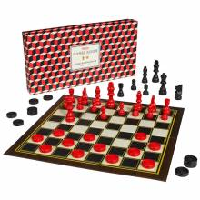 Chess And Draughts Set In Red And Black Box