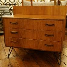 1970s G Plan Teak Chest of Drawers On Hairpin Legs