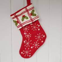Christmas Stocking With Snowflakes And Holly By Gisela Graham