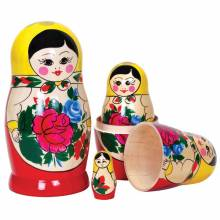 Classic Wooden Russian Doll Babushka 5 Dolls