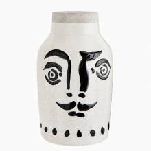 White Ceramic Vase With Painted Face Design