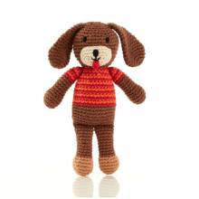 Knitted Crochet Puppy Dog Rattle Jumper Soft Toy Fairtrade 0+