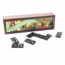 Dominoes In Wooden Box Game Retro Classic Game