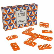 Set Of Dominoes In Orange And Blue Box