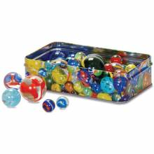 Set Of 60 Marbles In A Tin 6+