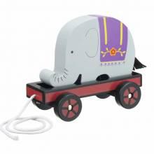 Retro Elephant Train Pull Along Toy 12+