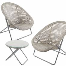 Folding Rattan 2 Lounge Chair And Table Set