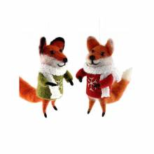 Fox In Jumper And Scarf Felt Hanging Christmas Decoration