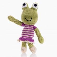 Frog Rattle GIRL Crochet Knitted 0yrs+.