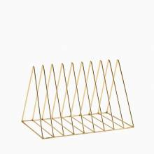 Large Triangular Shiny Gold Wire Plate Rack