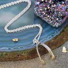Gold Dipped Silver Wishbone Necklace Silver