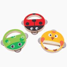 Wooden Animal Hand Shakers Tambourines 1+