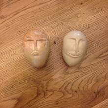 Happy & Sad Face Soapstone Egg