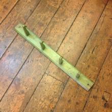 Wooden Green Painted Coat Rack 4 Hooks