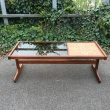 1950s Tile And Glass Top Coffee Table