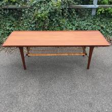 Cane Teak Long Coffee Table