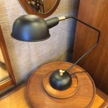 Black Desk Lamp With Dome Shade And Brass Detail