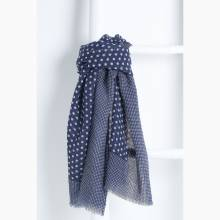 JAD Navy Fine Wool Scarf By Jo Edwards