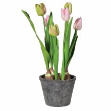 Pink And Green Tulips In Grey Cement Pot Artificial Flowers