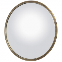 Large 41cm Antiqued Brass Convex Mirror