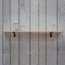 Large Oak Shelf With Cast Iron Brackets 123x22x3cm