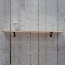 Large Oak Shelf With Cast Iron Brackets 123x22x3cm