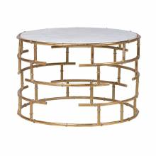 Round Bamboo Tubular Gold Coffee Table With Marbleised Top
